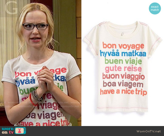 Peek Bon Voyage Graphic Tee worn by Dove Cameron on Liv & Maddie