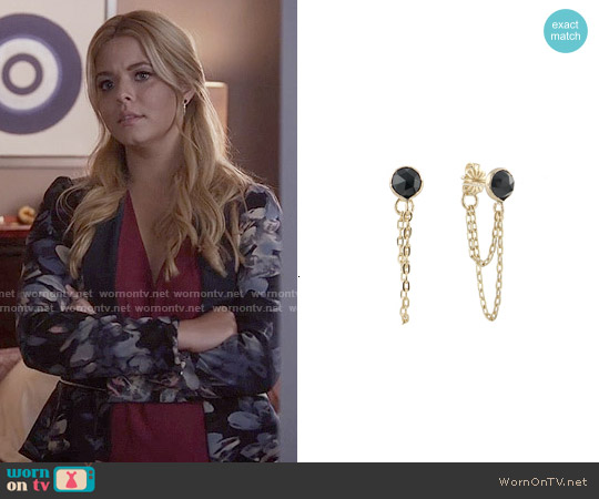 Peggy Li Draped Black Spinel Earrings worn by Alison DiLaurentis on PLL