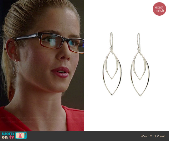 Peggy Li Abstract Leaf Earrings worn by Emily Bett Rickards on The Flash