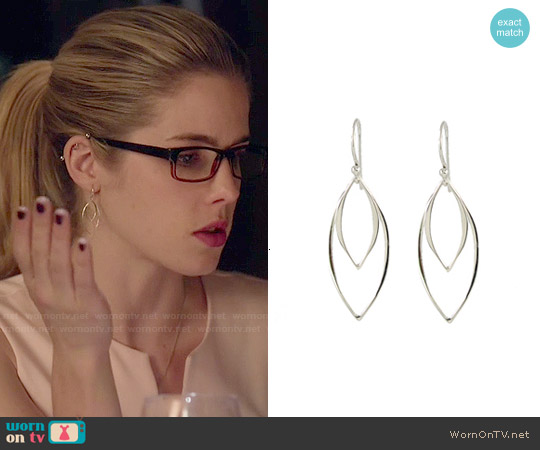 Peggy Li Abstract Leaf Earrings worn by Felicity Smoak on Arrow