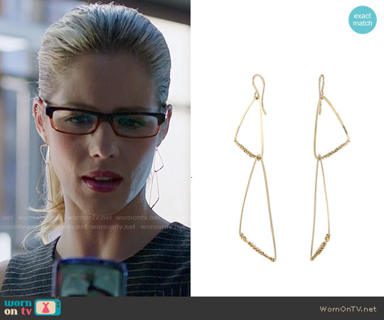 Peggy Li Calder Geo Earrings worn by Emily Bett Rickards on Arrow