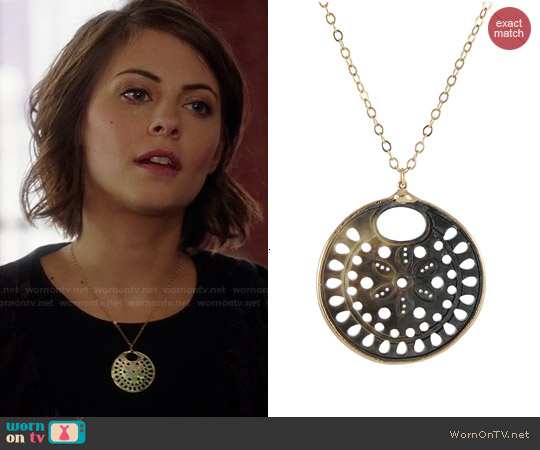 Peggy Li Carved Mother of Pearl Necklace worn by Willa Holland on Arrow