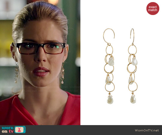 Peggy Li Gemstone Cascade Earrings worn by Felicity Smoak on Arrow
