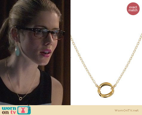 Peggy Li Clustered Circle Necklace worn by Emily Bett Rickards on Arrow