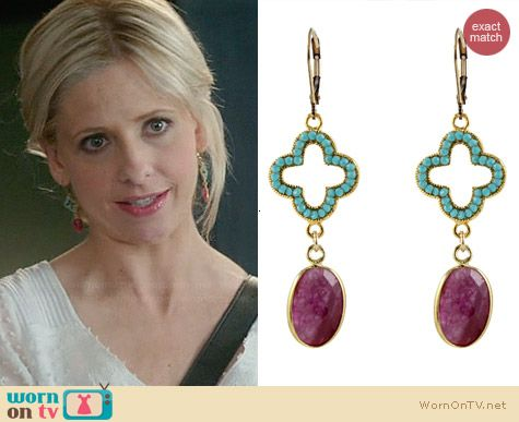 Peggy Li Crystal Elegance Earrings worn by Sarah Michelle Gellar on The Crazy Ones