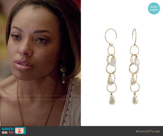 Peggy Li Gemstone Cascade Earrings worn by Bonnie Bennett on The Vampire Diaries