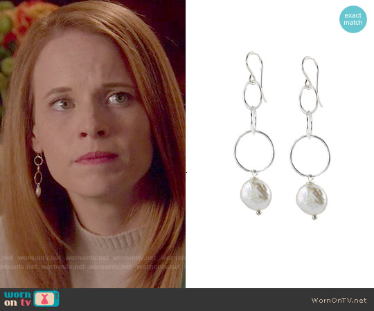 Peggy Li O Pearl Earrings worn by Daphne Vasquez on Switched at Birth