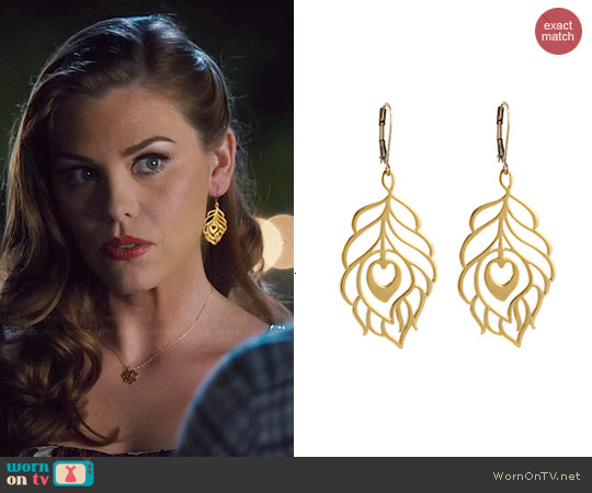 Peggy Li Peacock Feather Earrings worn by Kaitlyn Black on Hart of Dixie