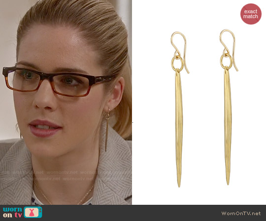 Peggy Li Quill Earrings worn by Felicity Smoak on The Flash
