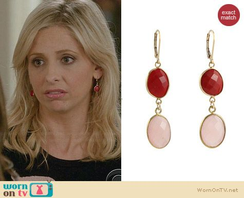 Peggy Li Rosy Reds Earrings worn by Sarah Michelle Gellar on The Crazy Ones
