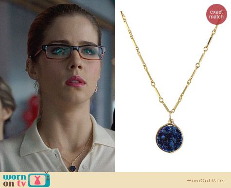 Peggy Li Round Drusy Pendant Necklace worn by Felicity Smoak on Arrow