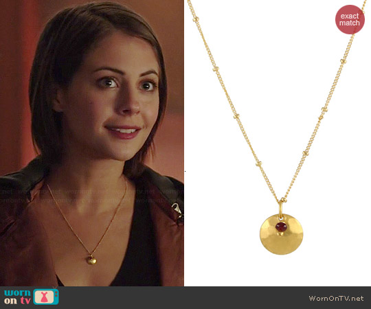 Peggy Li Ruby Disc Necklace worn by Willa Holland on Arrow
