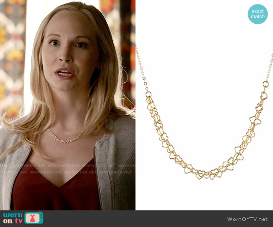 Peggy Li Thorny Hearts Necklace worn by Caroline Forbes on The Vampire Diaries