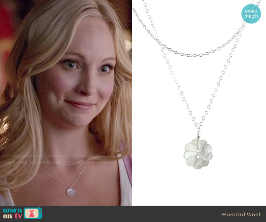Peggy Li Single Pearly Flower Necklace worn by Caroline Forbes on The Vampire Diaries