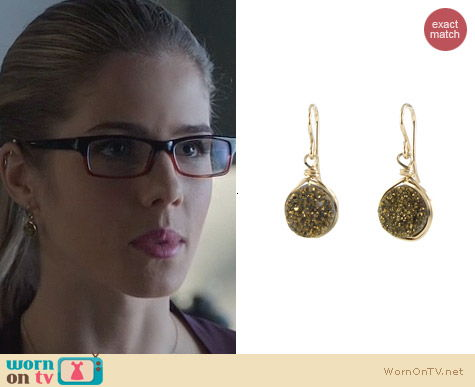 Peggy Li Small Drusy earrings worn by Felicity Smoak on Arrow