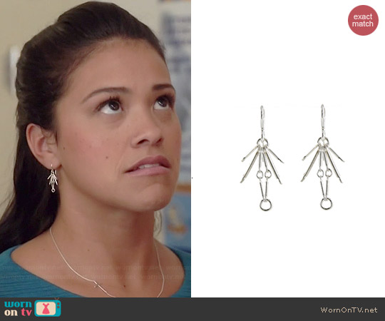 Peggy Li Spark Earrings in Silver worn by Gina Rodriguez on Jane the Virgin
