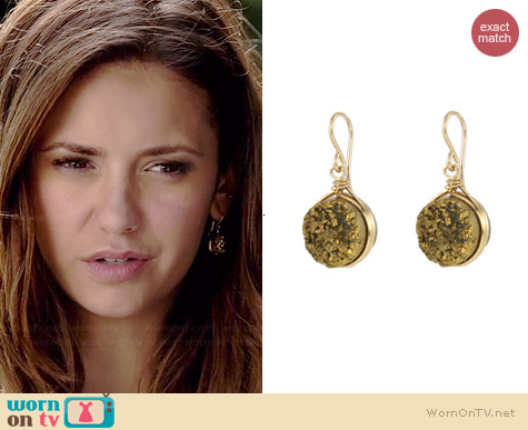 Peggy Li Spiked Drusy Earrings worn by Nina Dobrev on The Vampire Diaries