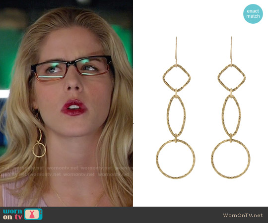 Peggy Li Triple Shape Earrings worn by Felicity Smoak on Arrow