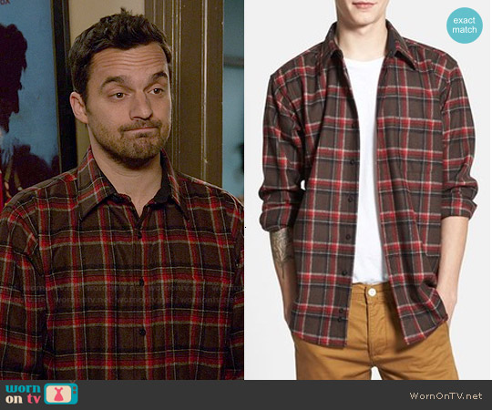 Pendleton Fireside Plaid Button-down Shirt worn by Jake Johnson on New Girl
