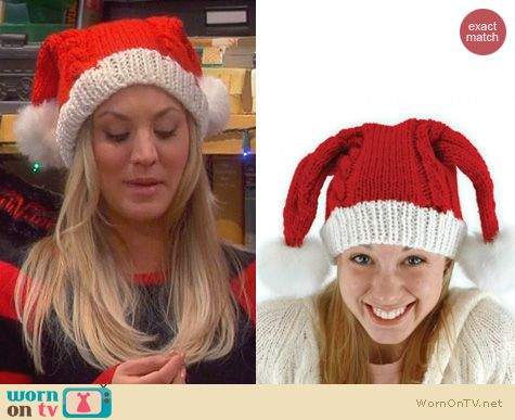 Penny's cable knit double sided Santa Hat on The Big Bang Theory