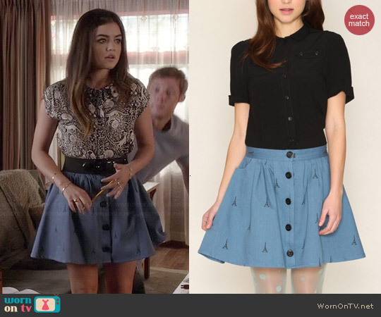 Pepa Loves Geraldine Eiffel Skirt worn by Aria Montgomery on PLL