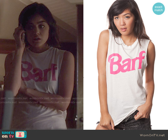 Nasty Gal Petals & Peacocks Barf Muscle Tee worn by Lucy Hale on PLL