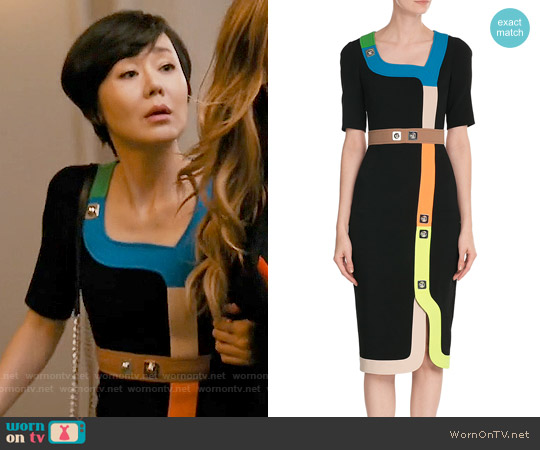 Peter Pilotto Tailored Dress with Multicolored Trim and Stud Embellishment worn by Yunjin Kim on Mistresses