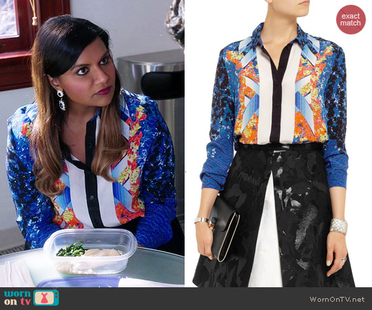 Peter Pilotto Arrow Printed Silk Shirt worn by Mindy Kaling on The Mindy Project
