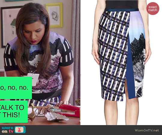 Peter Pilotto Front Split Asymmetric Skirt worn by Mindy Kaling on The Mindy Project