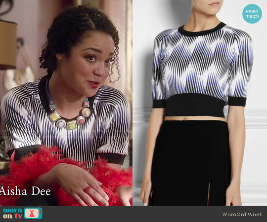 Peter Pilotto for Target Cropped printed cotton-blend top worn by Aisha Dee on Chasing Life