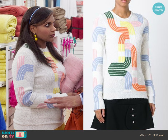 Peter Pilotto Track Sweater worn by Mindy Kaling on The Mindy Project
