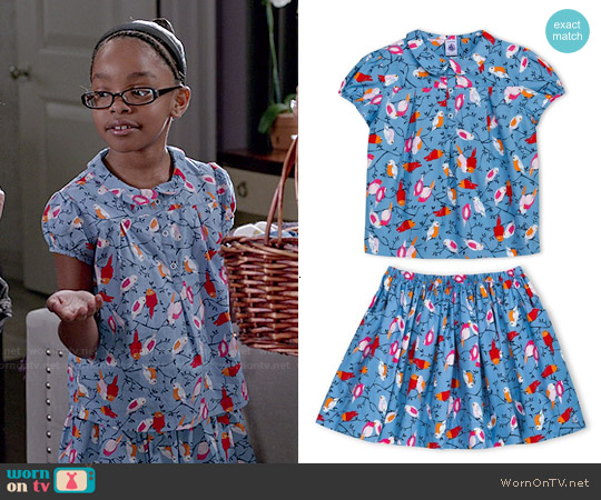 Petit Bateau Bird Print Top and Skirt Set worn by Marsai Martin on Blackish