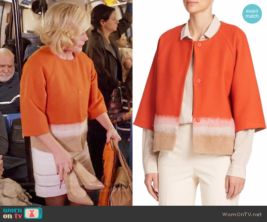 Piazza Sempione Colorblock Short Wool Jacket worn by Jane Krakowski on Unbreakable Kimmy Schmidt