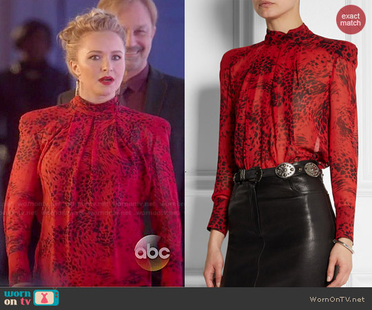Pierre Balmain Animal-print silk-georgette blouse worn by Hayden Panettiere on Nashville