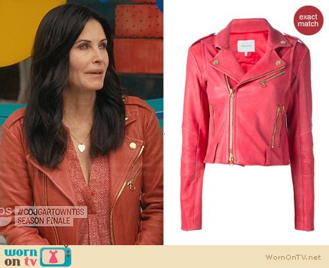 Pierre Balmain Cropped Biker Jacket worn by Courtney Cox on Cougar Town