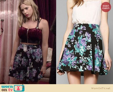 Pins & Needles Floral Skater Skirt worn by Ashley Benson on PLL