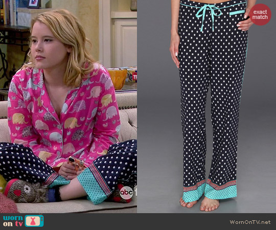 PJ Salvage Luxe Navy Notion Pajama Pants worn by Lennox Scanlon on Melissa & Joey