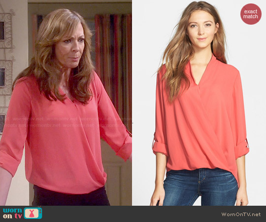 Pleione Faux Wrap Blouse in Coral Spice worn by Allison Janney on Mom