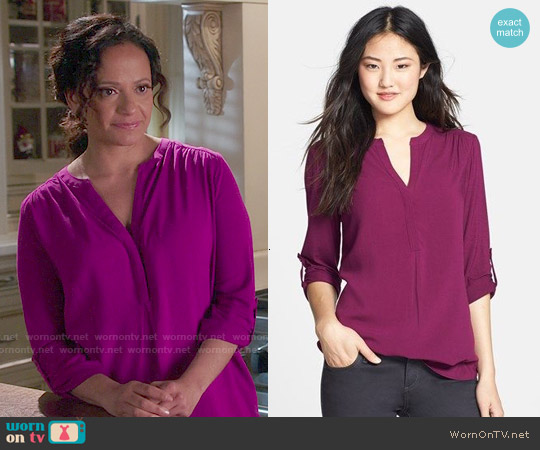 Pleione Mixed Media Tunic worn by Judy Reyes on Devious Maids