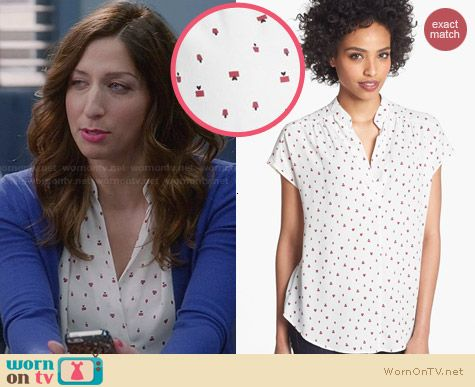 Pleione Split Neck Present Print Blouse worn by Chelsea Peretti on Brooklyn 99