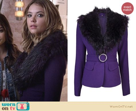 PLL Fashion: Rachel Zoe Purple Fur Collar Jacket worn by Ashley Benson
