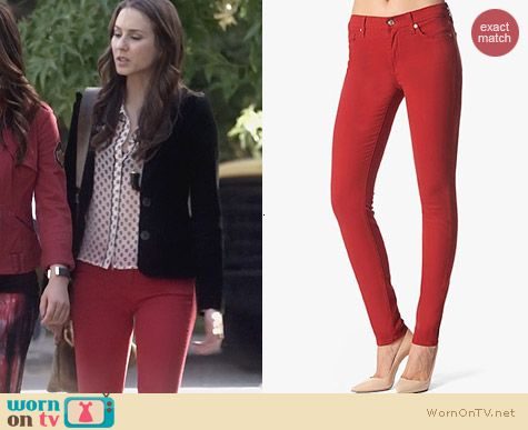 Fashion of PLL: 7 for all Mankind Skinny Jeans in Flame Red worn by Troian Bellisario