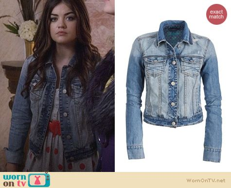 Fashion of PLL: Aeropostale Classic Destroyed Denim Jacket worn by Lucy Hale