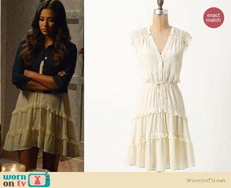 wornontv emily�s white dress with denim jacket on pretty