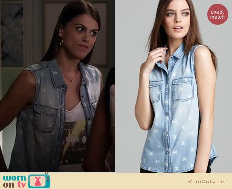 PLL Fashion: Aqua Skull print chambray sleeveless shirt worn by Lindsey Shaw