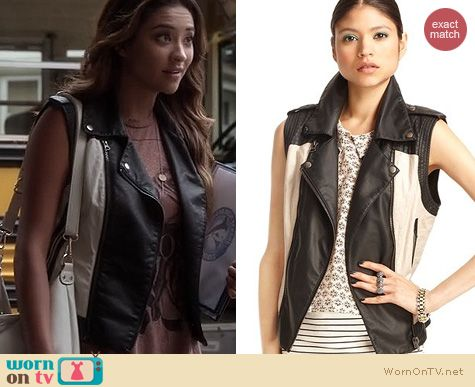 PLL Fashion: Bar III Faux leather motorcycle vest worn by Shay Mitchell
