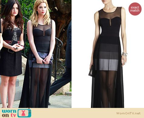 PLL Fashion: BCBGMAXAZRIA Alai sheer gown worn by Ashley Benson