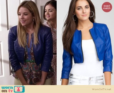 PLL Fashion: Bebe cropped zipper leather jacket in blue worn by Ashley Benson