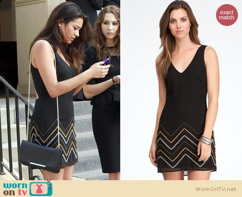 PLL Fashion: Bebe cutout back beaded dress worn by Shay Mitchell