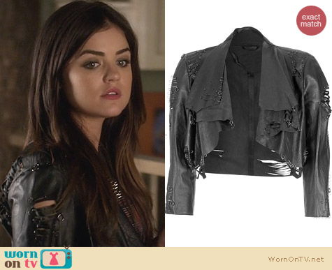 PLL Fashion: Catherine Malandrino Leather Cropped Jacket worn by Lucy Hale